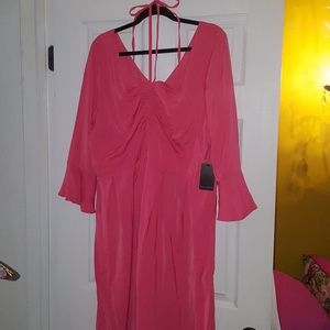 Eloquii Dresses - Eloquii Paradise Pink Coral Flare Sleeve Dress